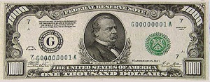 $1000 bill.  We have two cards for Grover Cleveland in our Deck of US Presidents since he served non-consecutive terms.