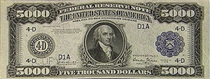 $5000 bill.  James Madison's wife's sister's husband's uncle was George Washington.